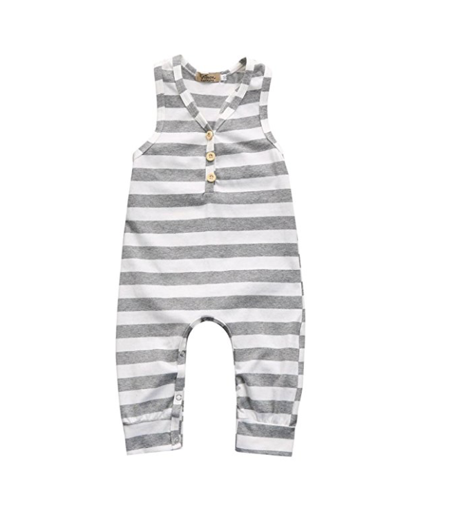 iumei Baby Boys and Girls Gray and White Stripe Sleeveless Romper Bodysuit Jumpsuit Cotton on Amazon