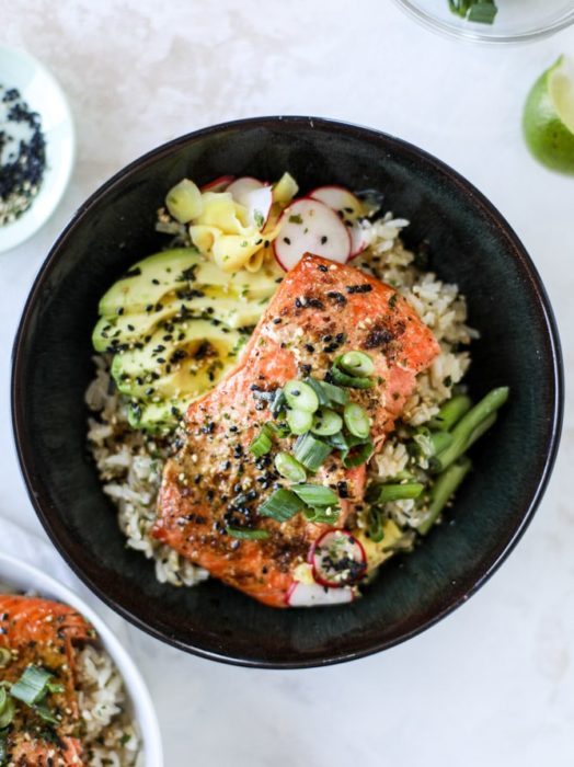 Butter Salmon Rice Bowls