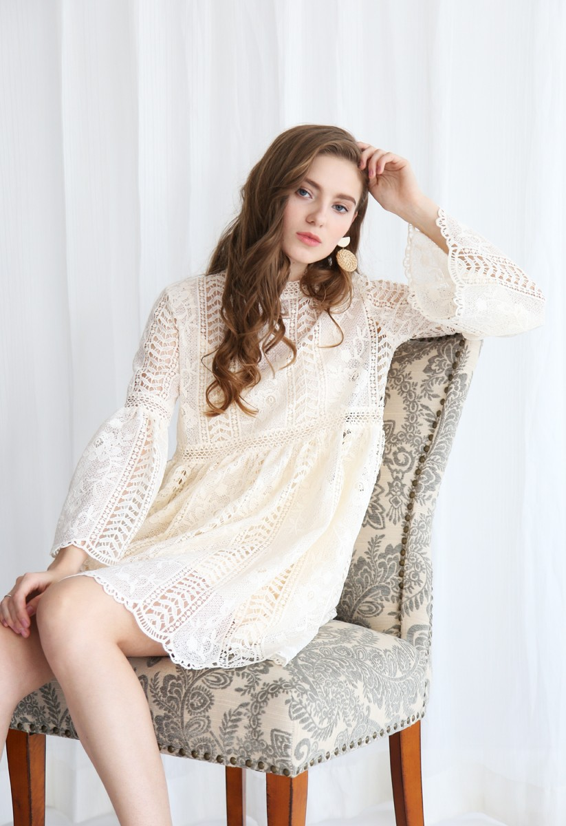 Endless Floral Romance Crochet Dress in Cream