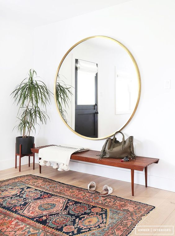 Entryway Round Mirror and Rug