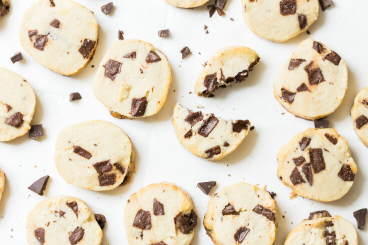 Salted Butter Chocolate Chunk Shortbread Cookies