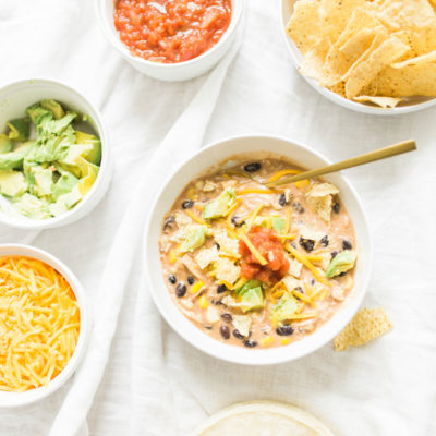 Easy Tortilla-Less Crockpot Creamy Chicken Enchilada Soup