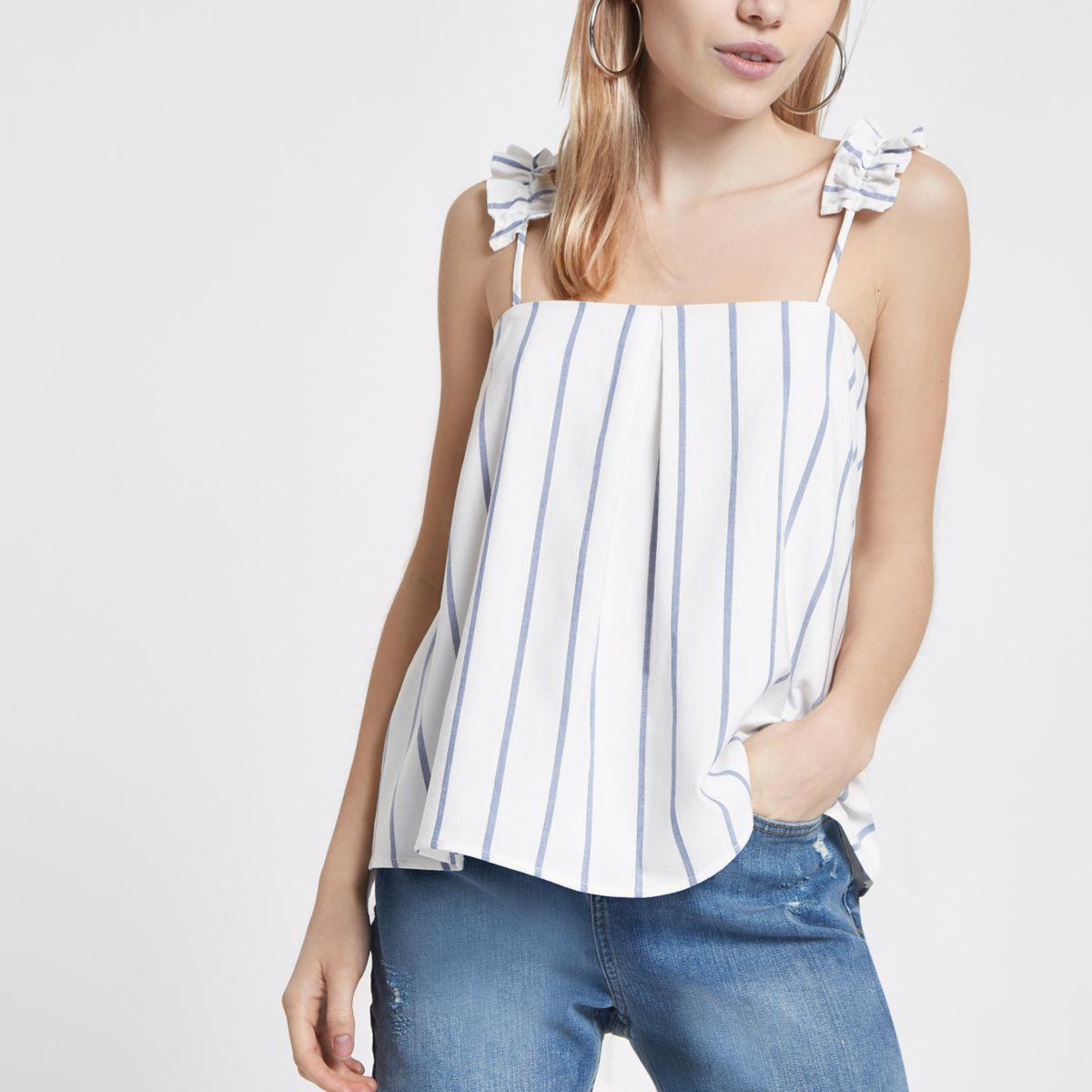 River Island Ruffle Detail Stripe Cami Top