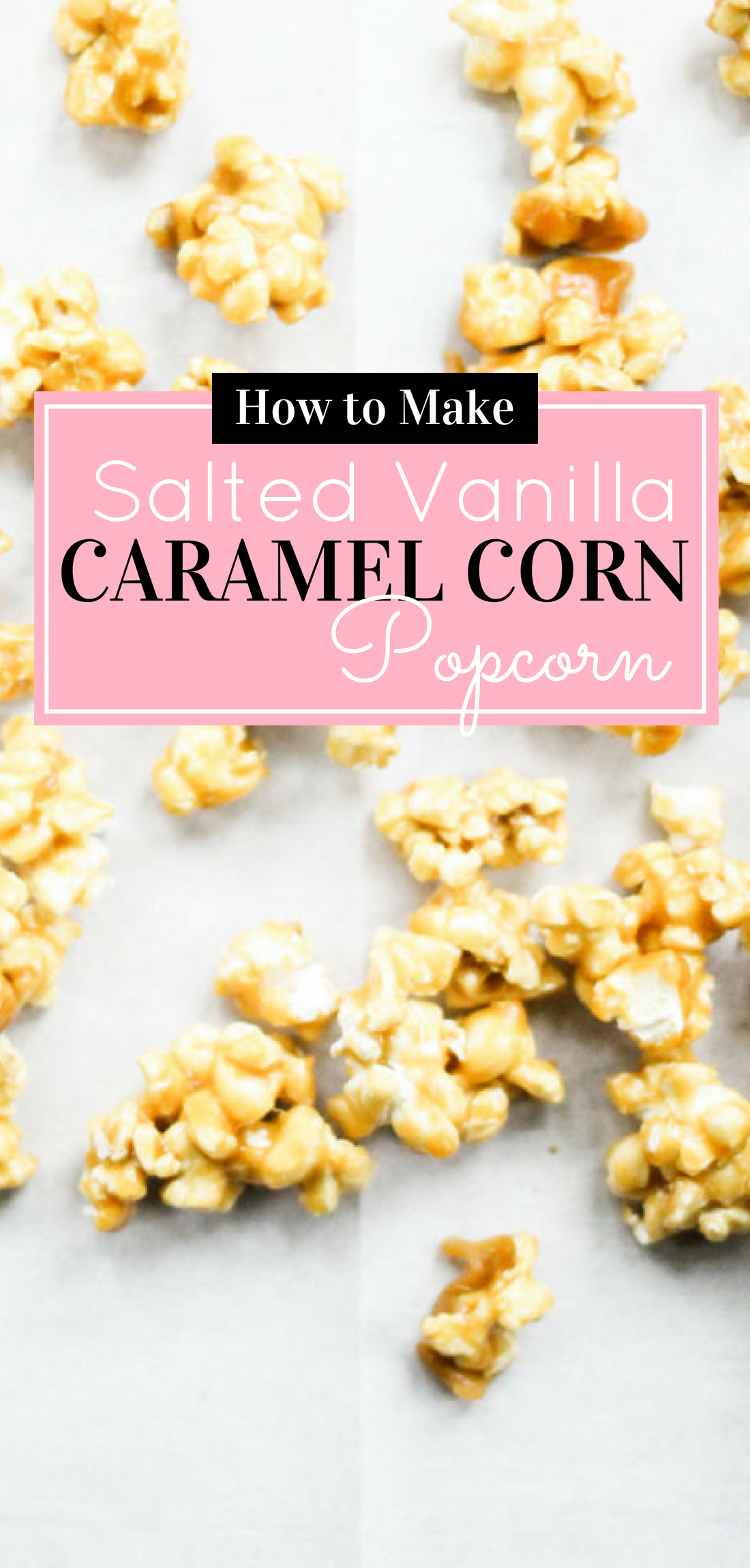 Salted vanilla caramel corn popcorn - an upgrade on the classic - is buttery and sweet and utterly snackable. This incredible caramel corn is perfect for your next party or any excuse for a sweet treat, really. The recipe is also super simple; no candy thermometer needed. #caramelcorn #saltedcaramelcorn Click through for the recipe. | glitterinc.com | @glitterinc