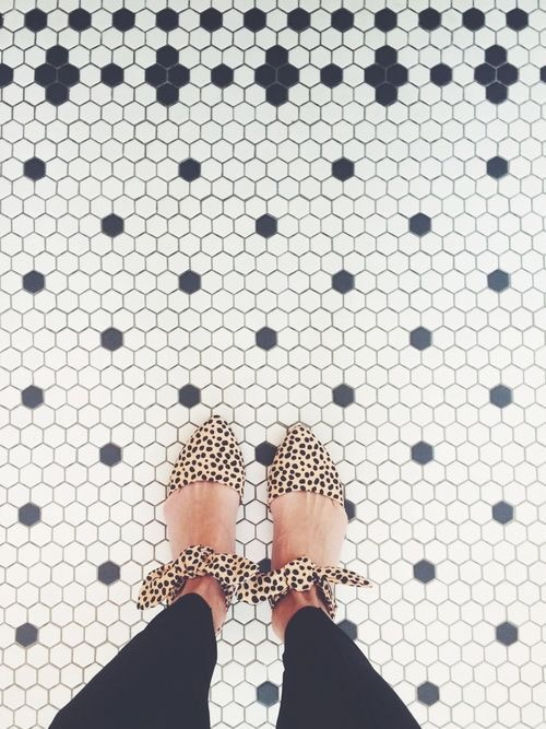 leopard flats and tile floor