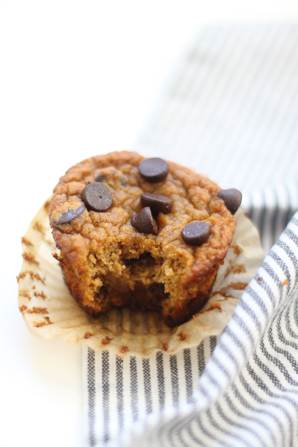 We've created the perfect healthy muffin! Fluffy roasted sweet potato muffins made with almond flour (i.e., gluten-free), greek yogurt (or coconut yogurt to keep it dairy-free!), plus a handful of chocolate chips; you'll be amazed at what a healthy vegan and paleo on-the-go breakfast or snack can taste like. Click through for the recipe. | glitterinc.com | @glitterinc #muffins #healthybreakfast #healthymuffins
