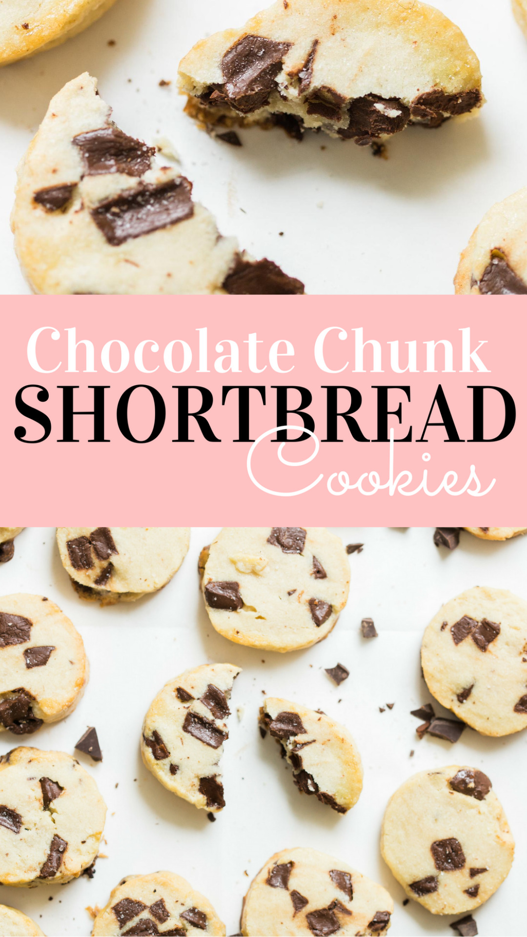 Looking for a crazy amazing cookie recipe? You HAVE to make the INCREDIBLE salted butter chocolate chunk shortbread cookies! Thick, chewy, buttery, decadent; a total crowd-pleaser. These are the upgrade to classic chocolate chip cookies you never knew you needed. | glitterinc.com | @glitterinc