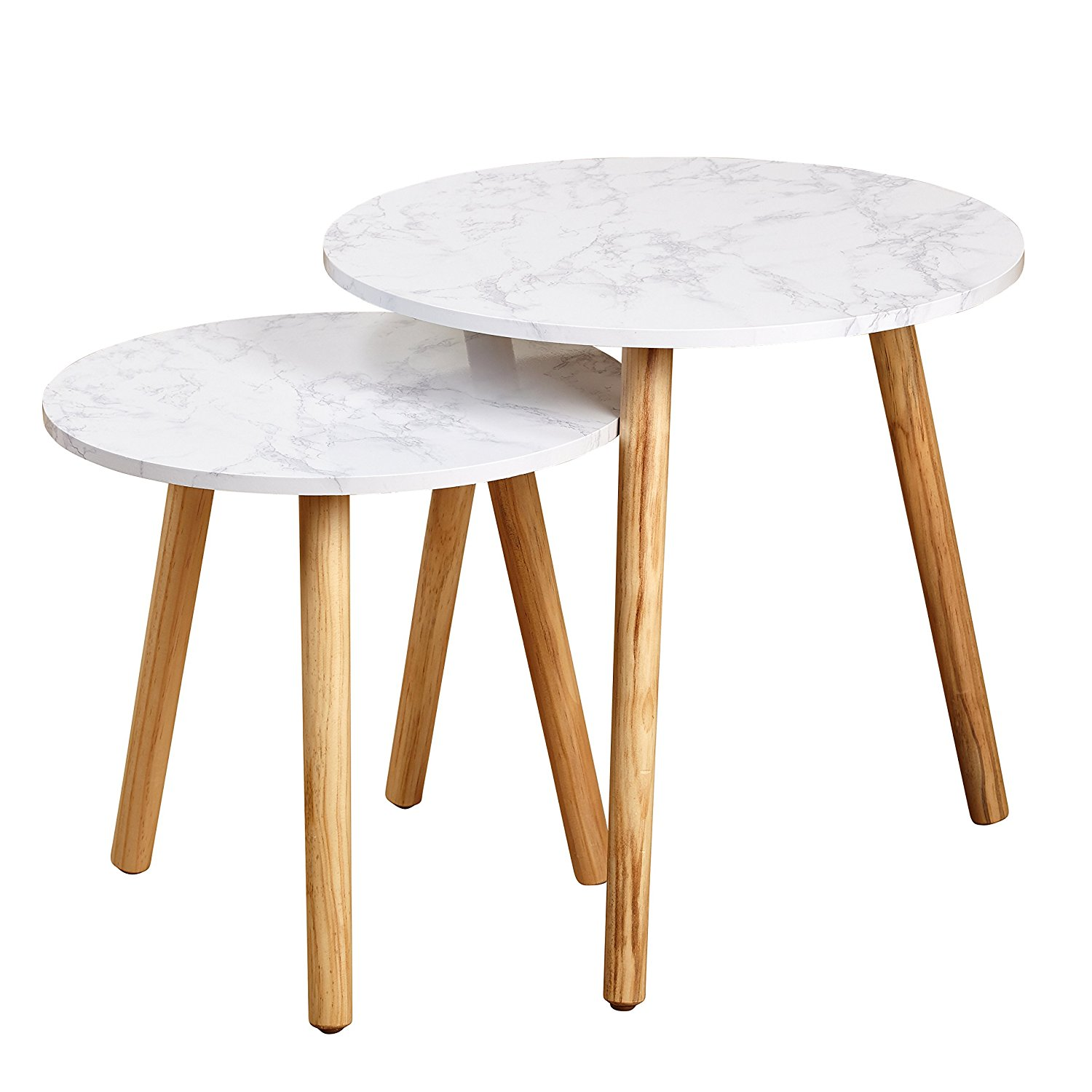 Darcy Collection Mid Century Modern Set of 2 Faux Marble Nesting Tables