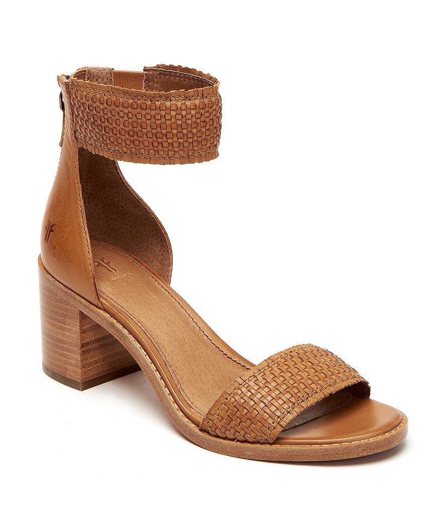 FRYE Women's Bianca Woven Back Zip Heeled Sandal