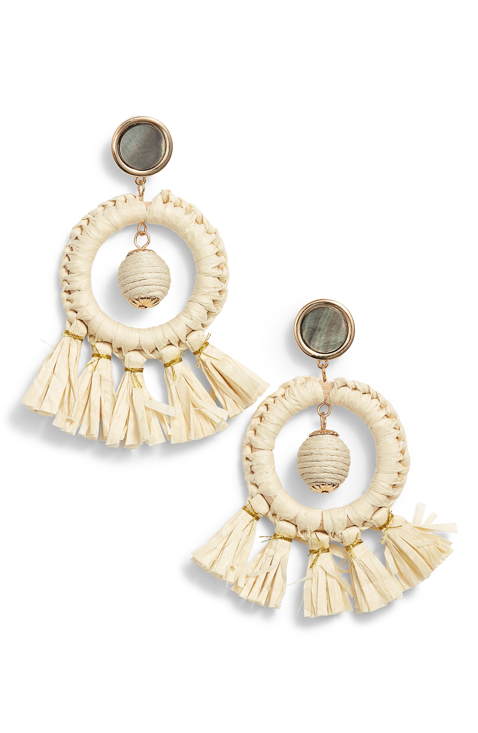 KITSCH Shell & Straw Drop Earrings