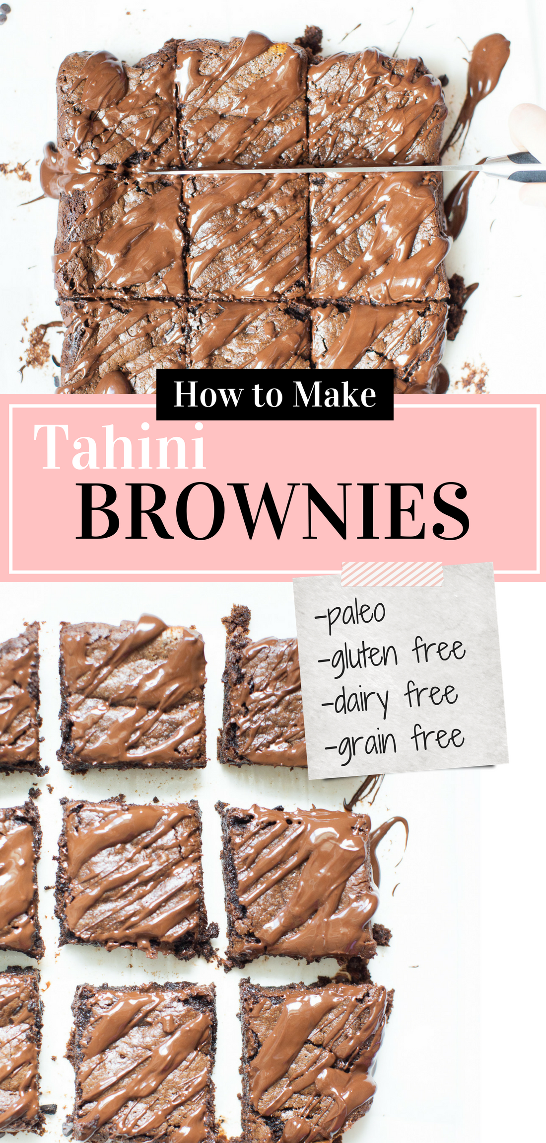 If you've been searching for a guilt-free dessert to satisfy your sweet tooth, then look no further than these magical fudgy tahini brownies. They are easily one of my favorite brownie recipes EVER! #brownies #healthydessert #tahinibrownies #glutenfree #dairyfree #paleo #grainfree | glitterinc.com | @glitterinc
