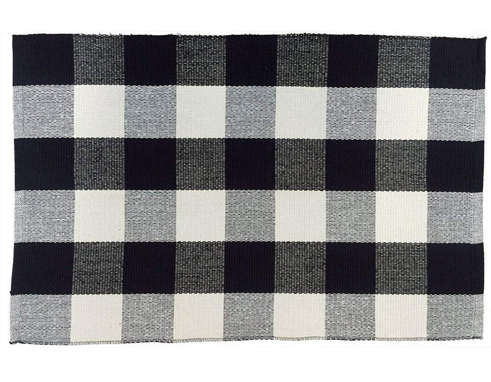 Black and White Hand-Woven Buffalo Check Door Mat Rug.jpg