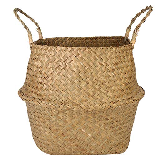 Collapsible Seagrass Tote Belly Basket