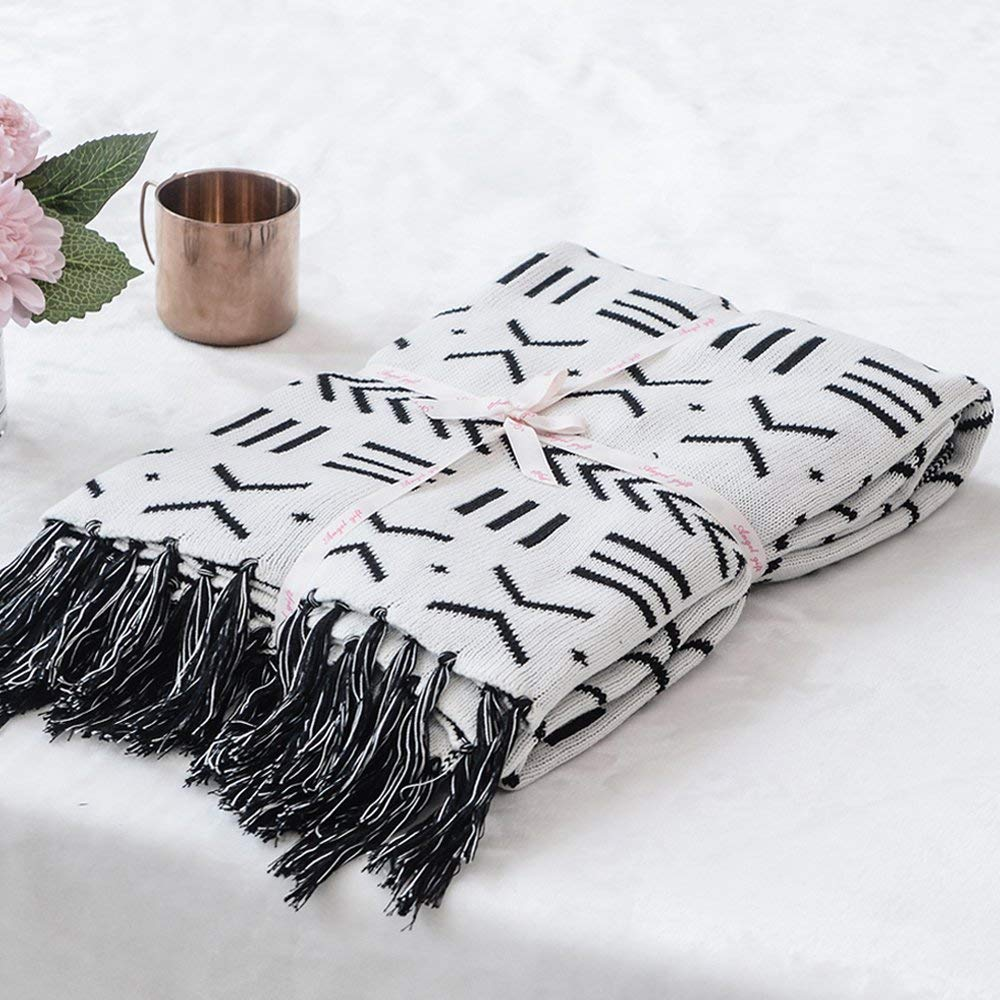 Cotton Knitted Blanket Black and White Two Sides Jacquard Couch Throw Blanket with Handmade Tassels from Amazon