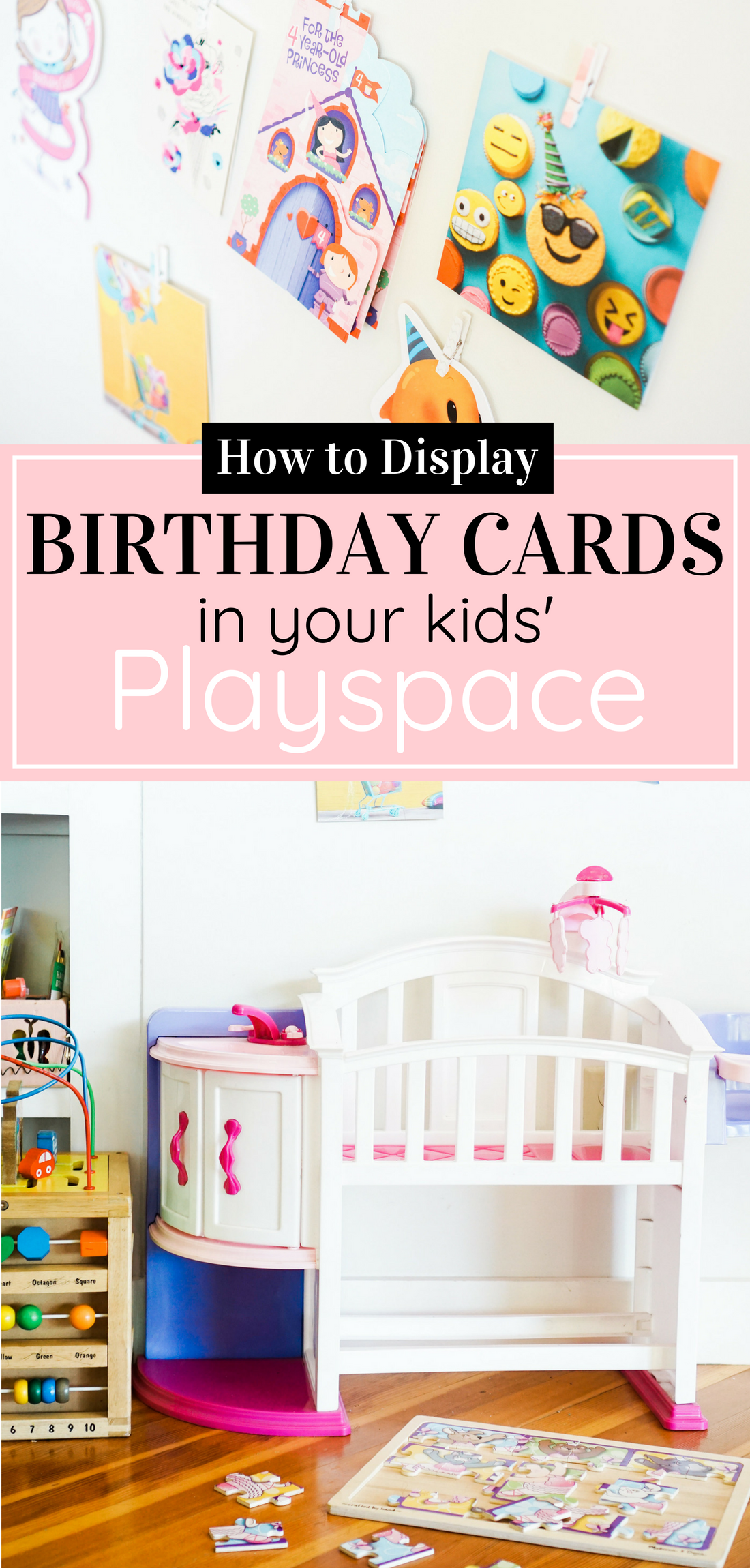 Celebrate your little ones' birthdays in memorable ways with this adorable birthday tradition: a sweet way to display cards in your kids' playspace. #birthday #greetingcards #playspace Click through for the details. | glitterinc.com | @glitterinc