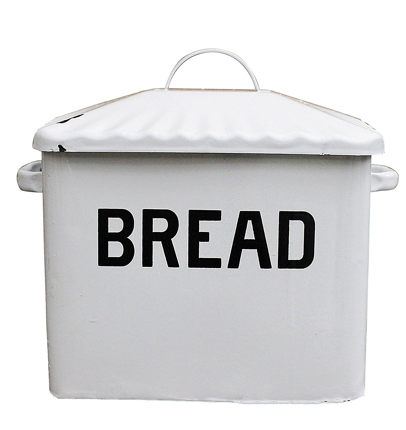 Distressed White BREAD Box with Lid