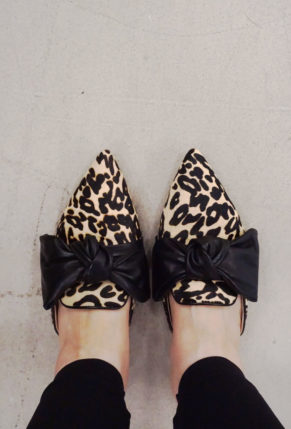 Louise et Cie Cela Bow Slides  in Leopard Print