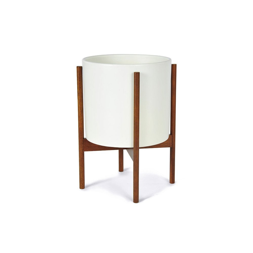 Modernica Case Study Ceramic Planter with Wood Stand