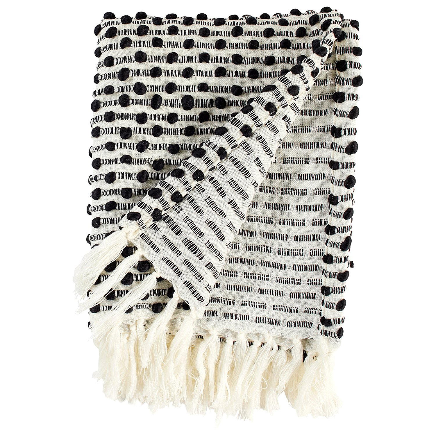 Rivet Bubble Textured Lightweight Decorative Fringe Throw Blanket from Amazon