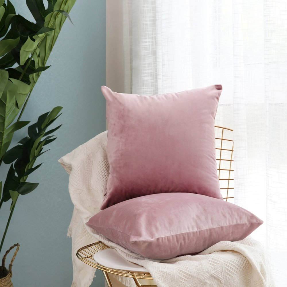 Velvet Soft Soild Decorative Square Throw Pillow Covers - Pack of 2 - from Amazon