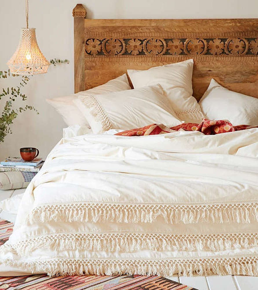 White Duvet cover Fringed Cotton Tassel Duvet Cover on Amazon