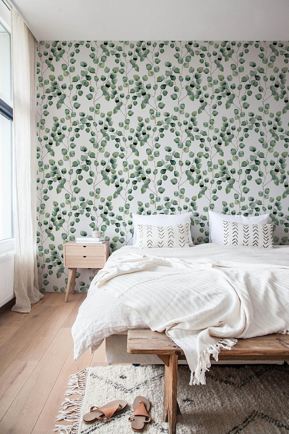 Eucalyptus Peel and Stick Fabric Removable Wallpaper
