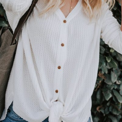 Loose Button-Down Henley High Low Thermal Top on Amazon