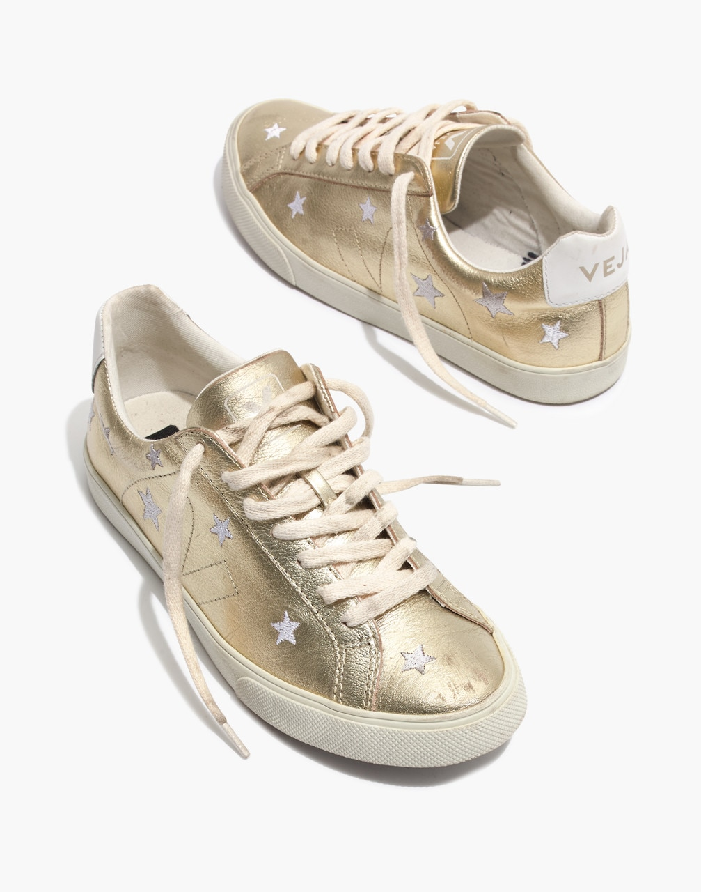 Madewell x Veja Esplar Low Sneakers in Star-Embroidered Gold Leather
