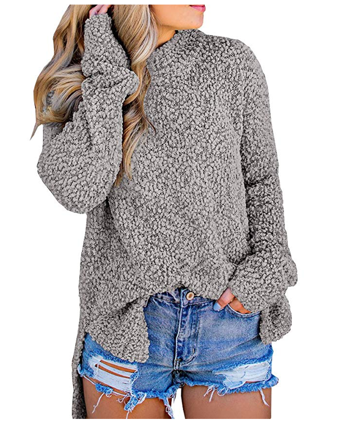 Imily Bela Womens Fuzzy Knitted Sweater Sherpa Fleece Side Slit Jumper