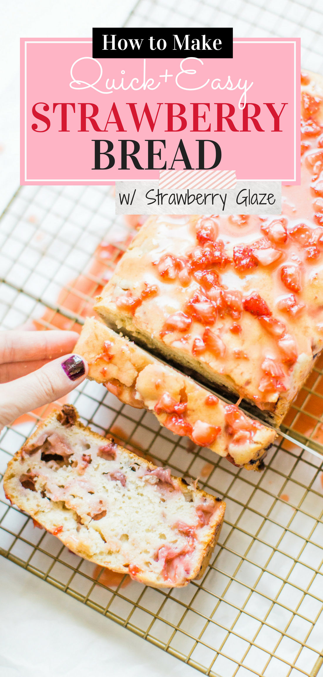 If you love strawberries, you are going to go crazy for this knock-your-socks-off easy and delicious strawberry bread with a decadent strawberry glaze. This quick bread recipe comes together in just 10 minutes, and will impress EVERYONE. #strawberrybread #quickbread #dessert #strawberrycake Click through for the recipe. | glitterinc.com | @glitterinc