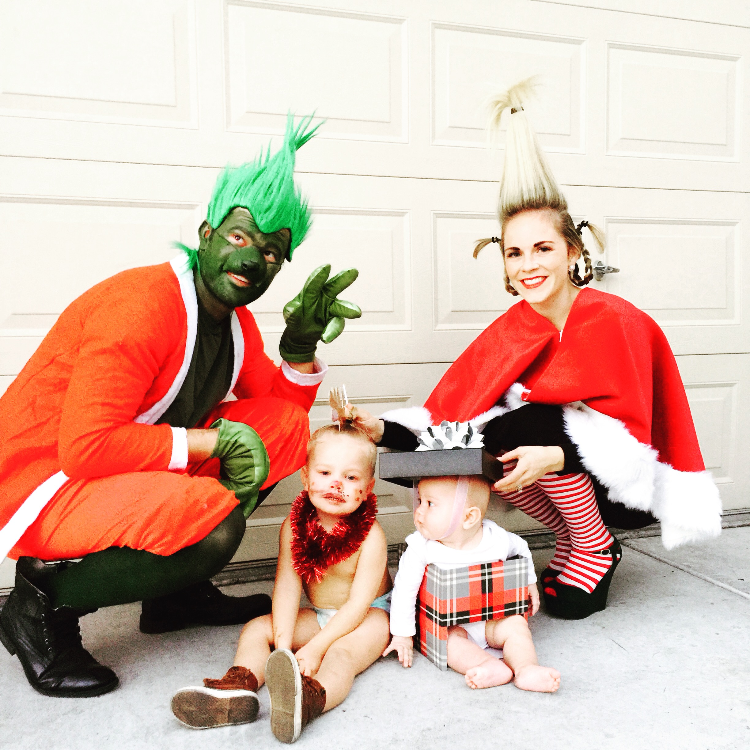 10 Adorably Awesome Halloween Costumes for Family, Kids, and Babies, including THE GRINCH, Cindy Lou Whoo, Max the dog, and a Present. Click through for plenty of fun DIY costumes for families. #halloween #halloweencostumeideas #familyhalloweencostume #familyhalloweencostumeideas | glitterinc.com | @glitterinc