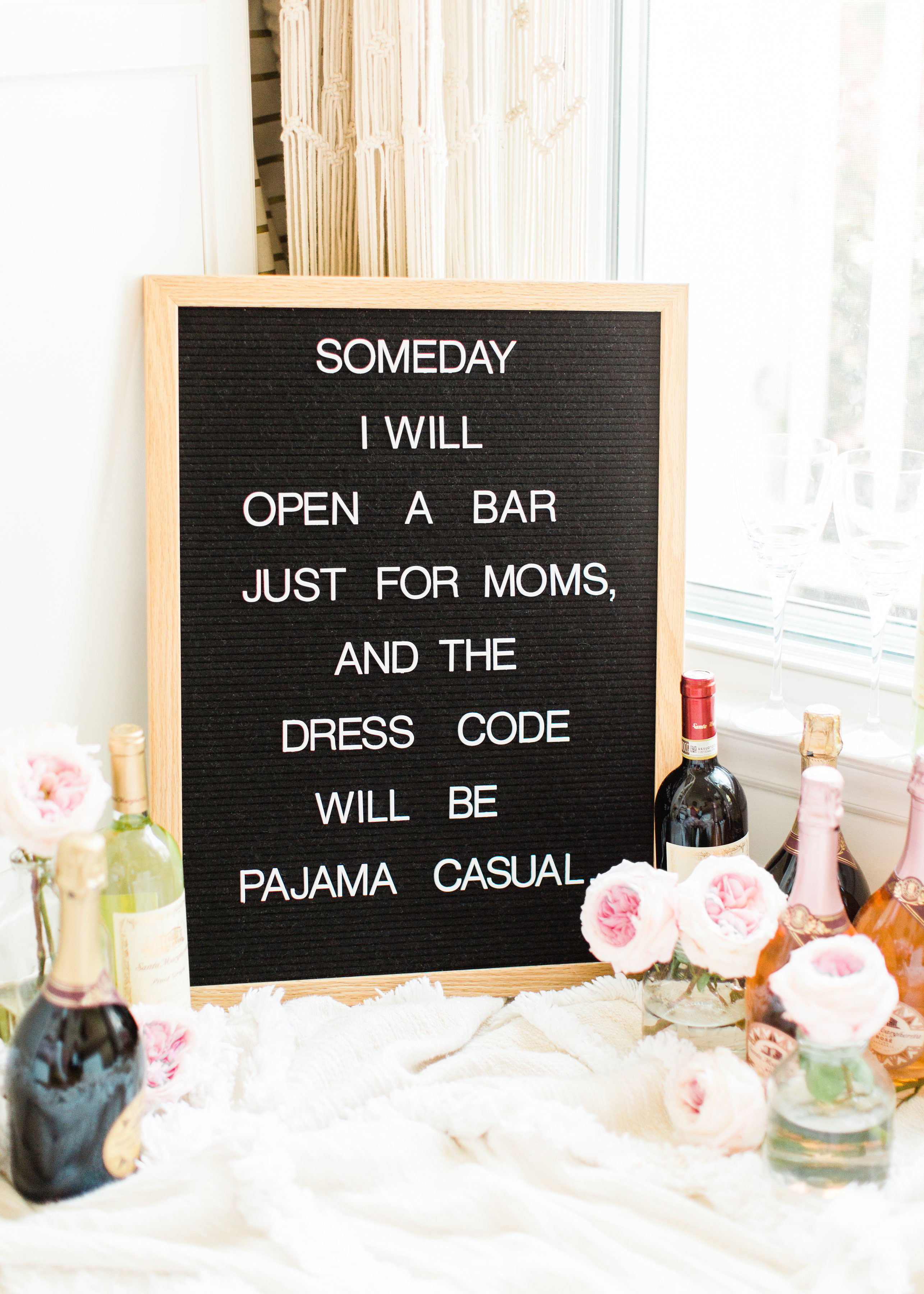 Pajama Casual Bar Just for Moms - Motherhood - Felt Letter Board Quotes // Lifestyle blogger Lexi of Glitter, Inc. shares a few little love notes to the things she loved most this week, including weekend plans in Asheville. #motherhood #momquotes #motherhoodquotes #feltletterboard #letterboard #letterboardquotes Click through for the details. | glitterinc.com | @glitterinc