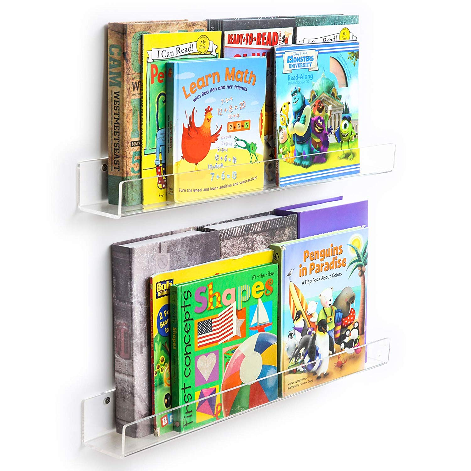 Acrylic Invisible Floating Bookshelf Display 24 inch, 2 Pack