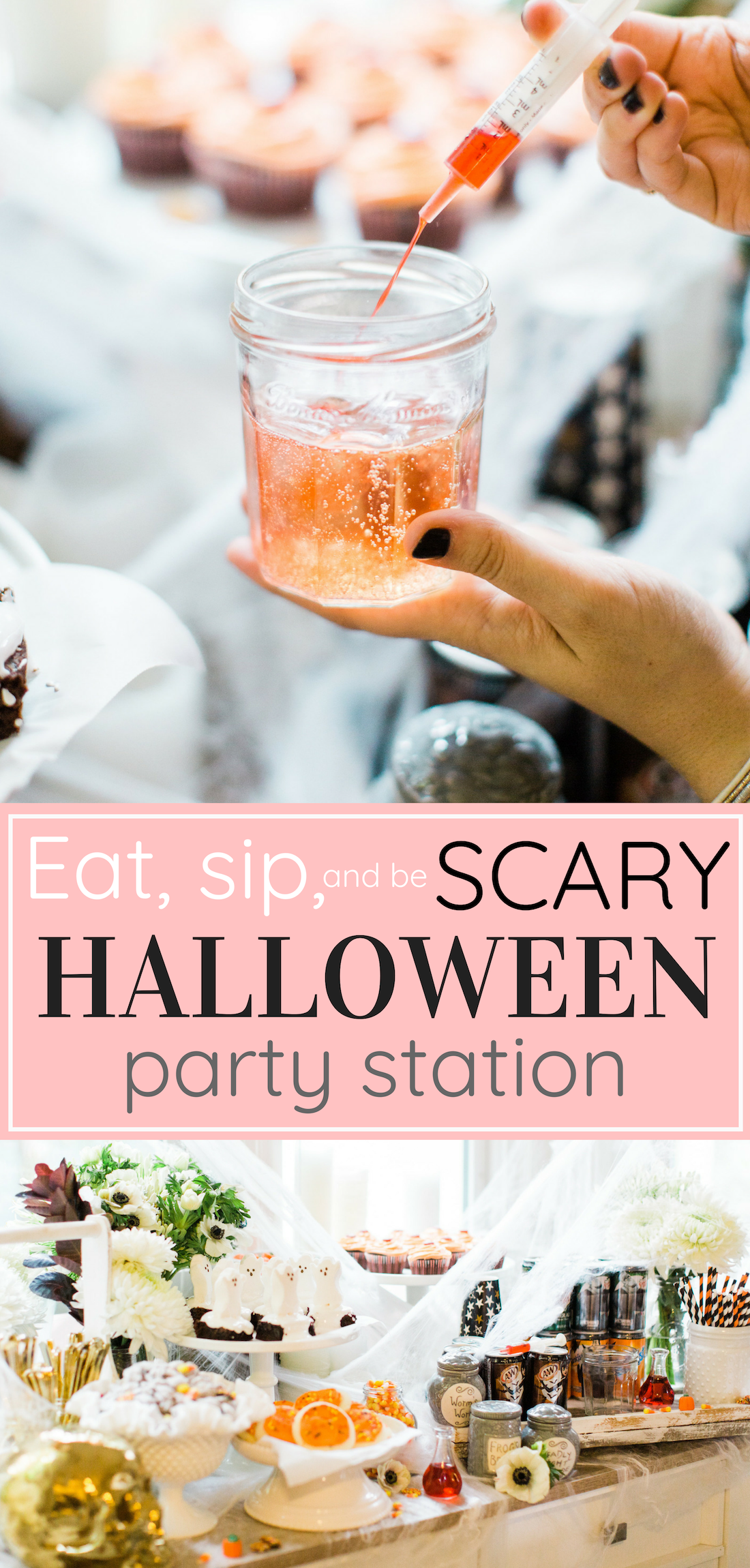 Create your own spooky Eat, Sip, and Be Scary Halloween Party Station for your next haunted bash! #Halloween #HalloweenParty #HalloweenDecor #halloweencandy #halloweendessert #dessertstation Click through for the scary fun details. | glitterinc.com | @glitterinc