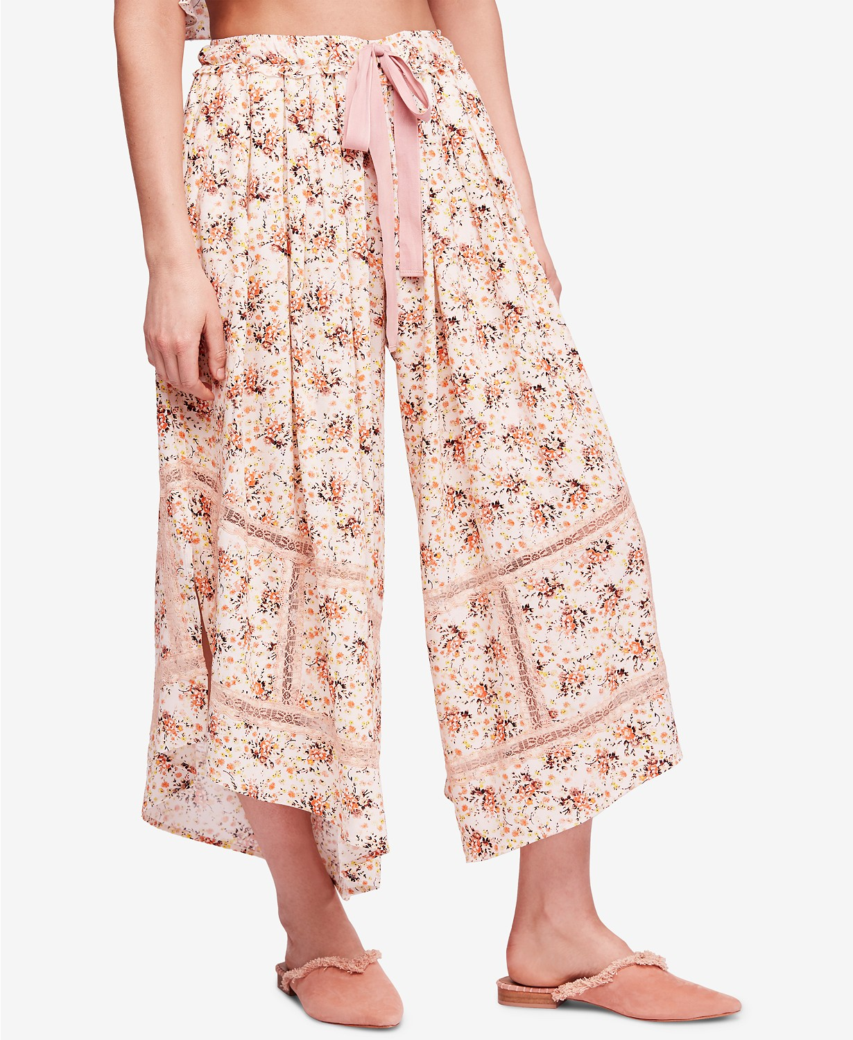 Free People Lovelord Crochet-Trim Sleep Pants