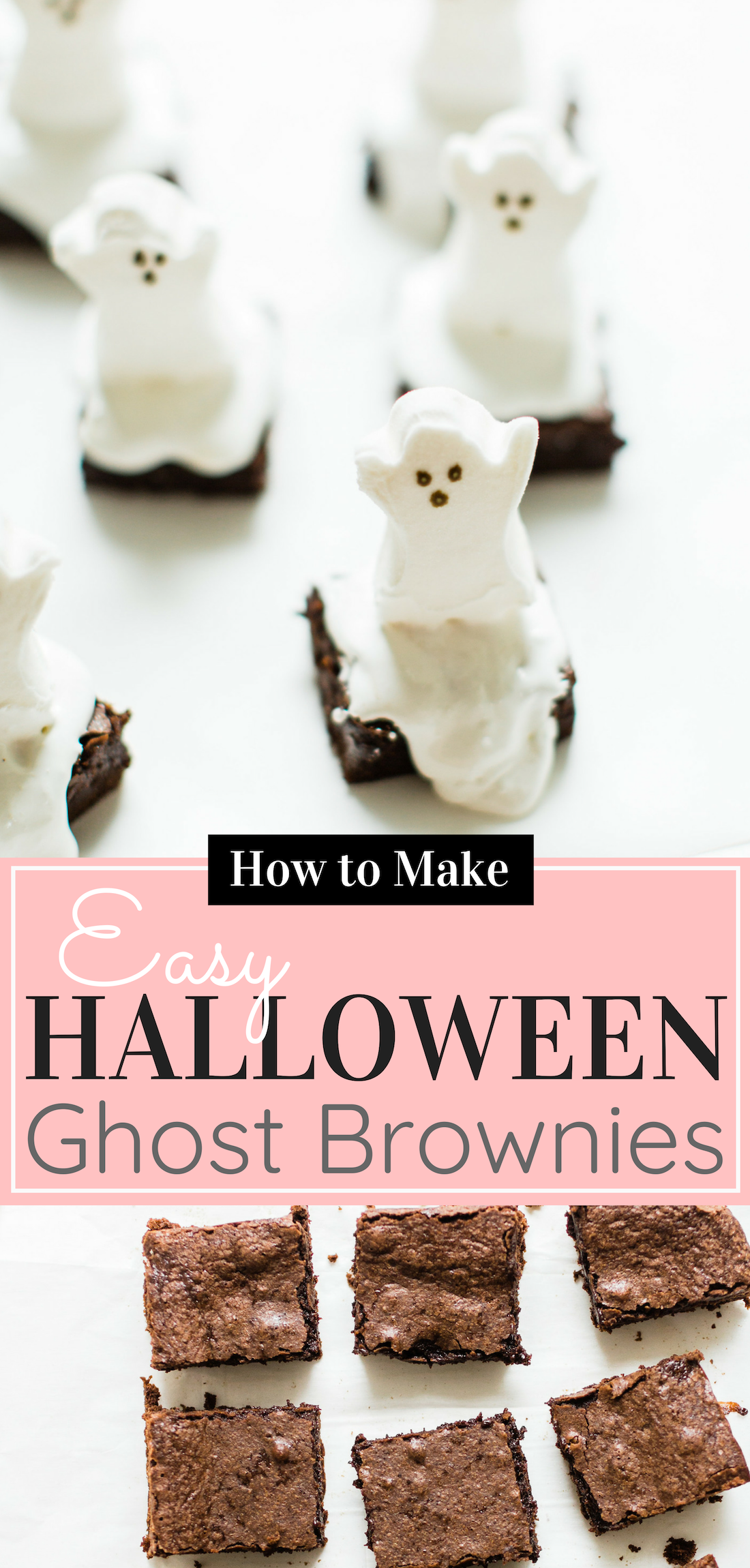 These spooky Halloween ghost brownies are delicious, adorable, and so easy to make. Kids and grownups alike will clamor for these haunted brownies! Click through for the details. #ghostbrownies #halloween #halloweendessert #halloweenbrownies #recipe #halloweenrecipe #diy #diyghostbrownies #halloweendesserts | glitterinc.com | @glitterinc