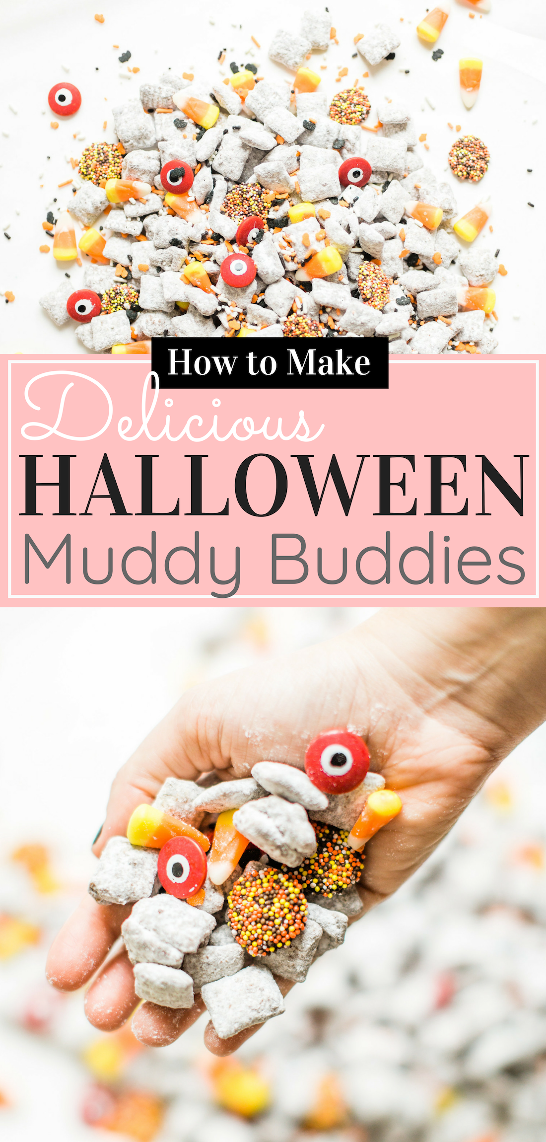 We turned classic - and delicious - Muddy Buddies; a.k.a., Puppy Chow, into a spooky treat; the perfect dessert for your next haunted Halloween party! Click through for the recipe. #halloween #halloweendessert #halloweencandy #halloweentreat #puppychow #halloweenpuppychow #muddybuddies #halloweenmuddybuddies | glitterinc.com | @glitterinc