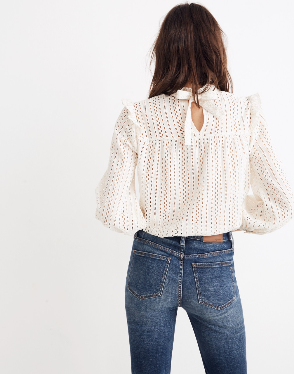 Fashion - Madewell Eyelet Mockneck Ruffle Top