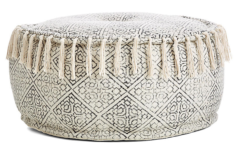 One Kings Lane Handler Round Pouf in Ivory/Black