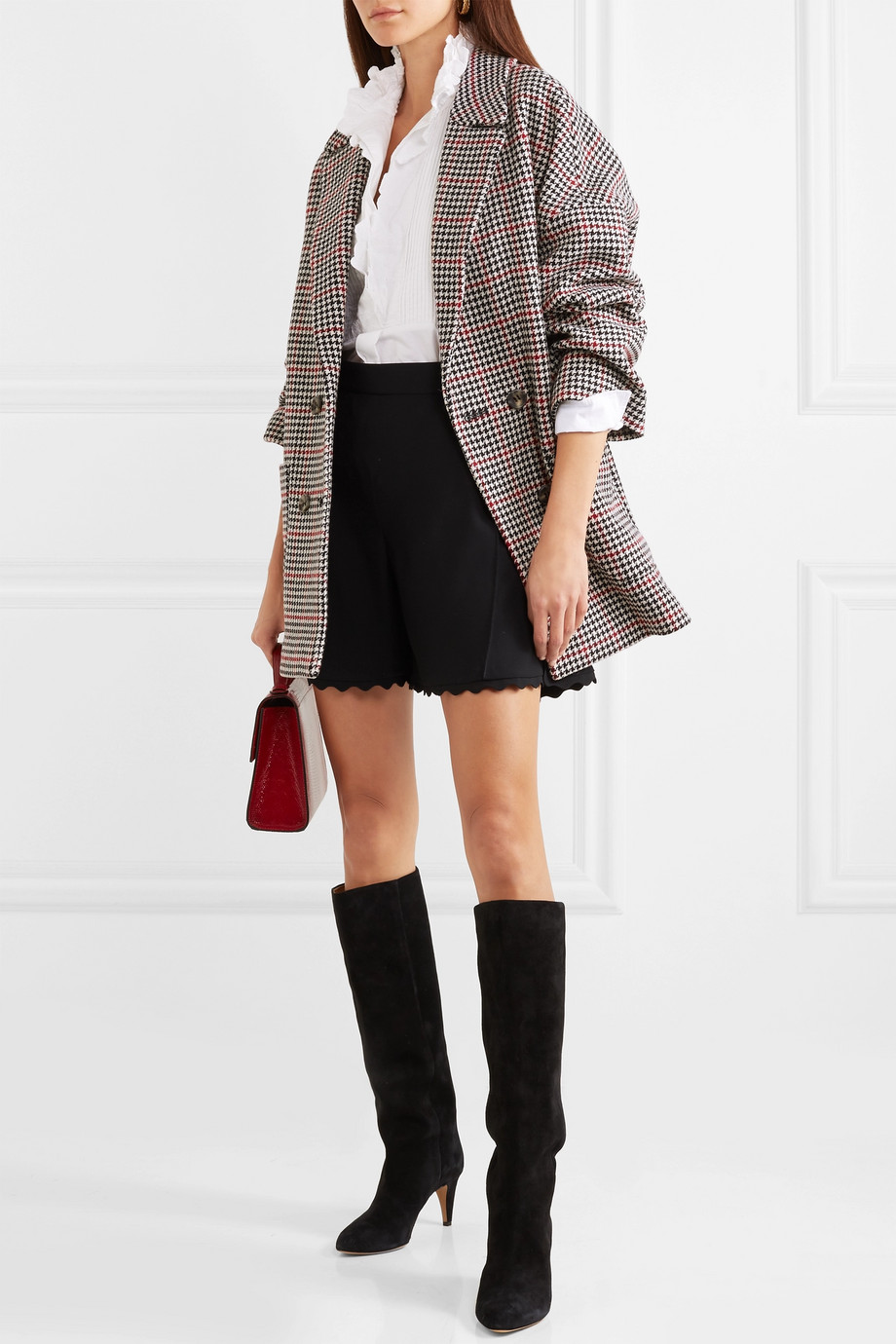RED VALENTINO Double Windowpane Oversized Houndstooth Coat