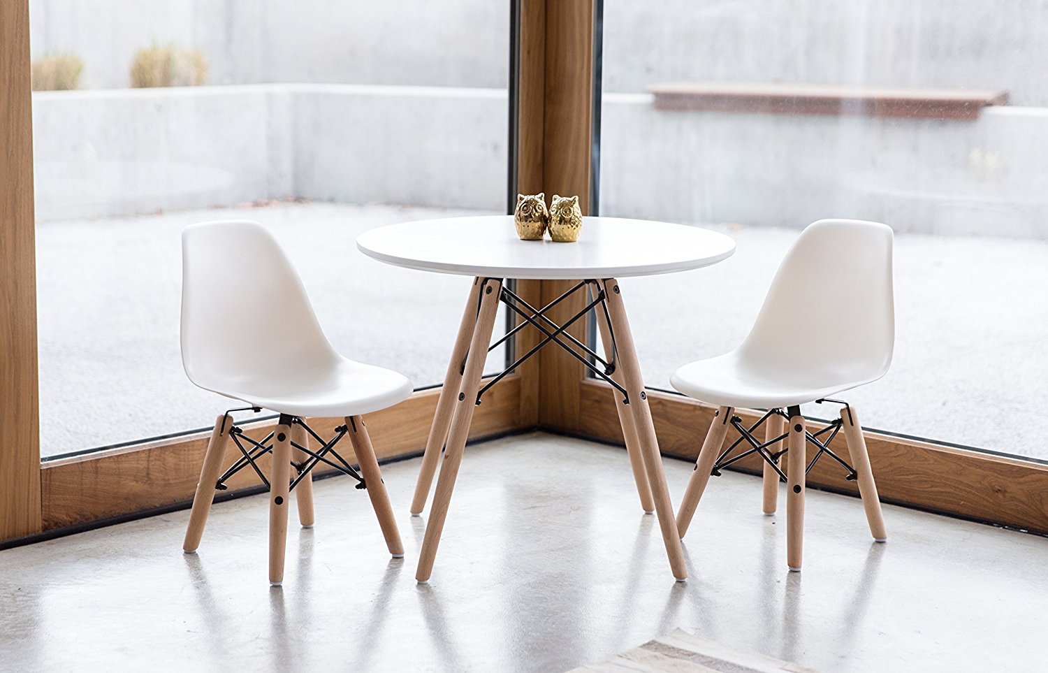 UrbanMod Kids Mid Century Style Modern White Table Set, Round Table with Two Easy-Clean Chairs