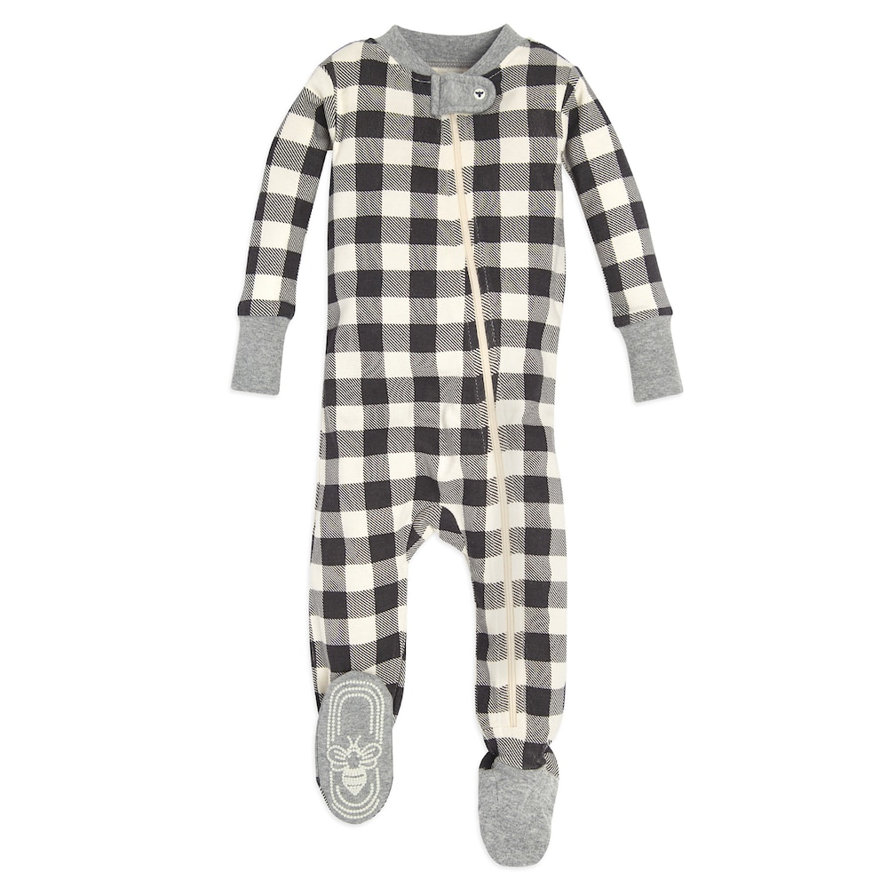 Baby Burt's Bees Baby Organic Buffalo Check Footed Coverall