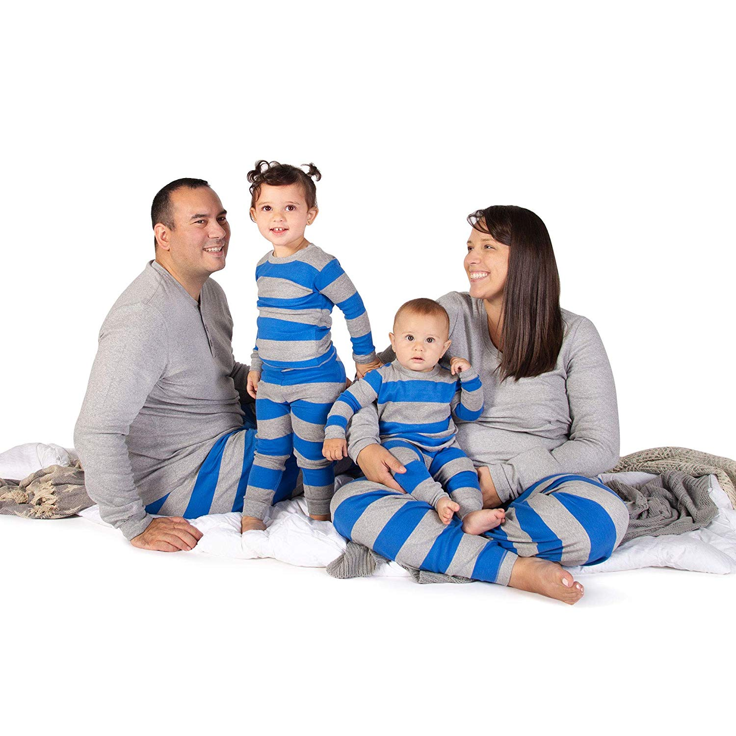 Burt's Bees Baby Family Holiday Jammies in Blue Rugby Stripe