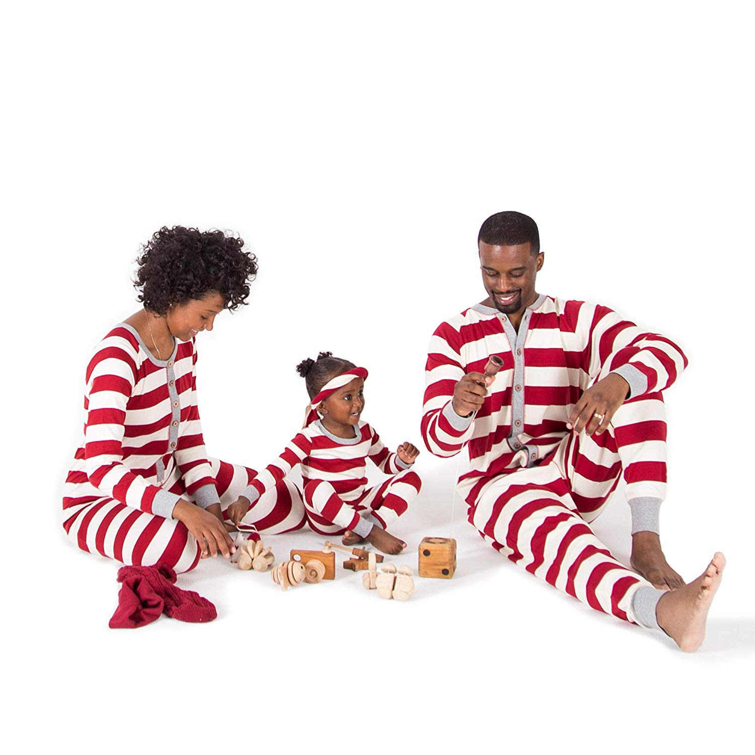 Burt's Bees Holiday Family Jammies in Cranberry Rugby Stripe