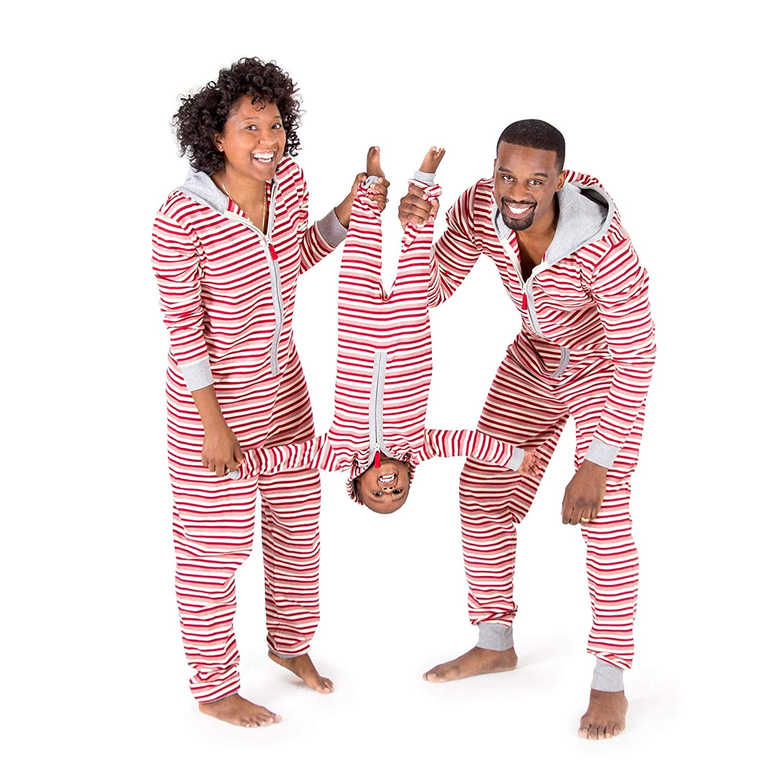 Burt's Bees Baby Holiday Family Jumpbees, Peppermint Stripe Jumpsuits