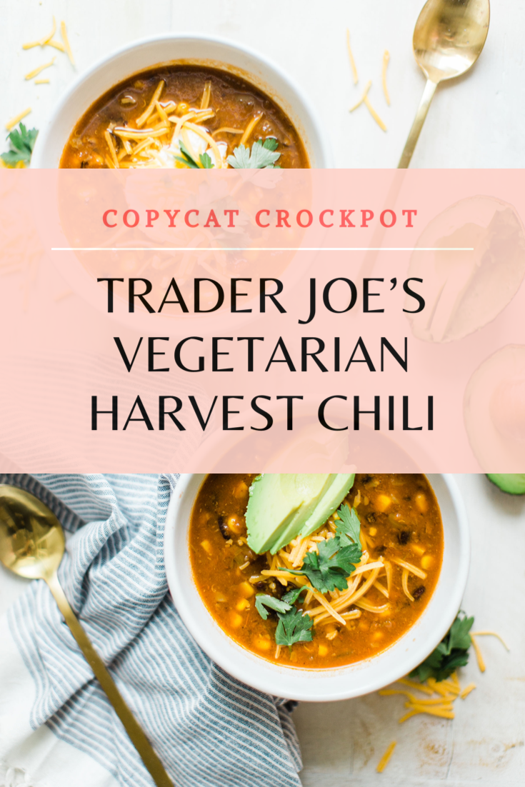 Obsessed with Trader Joe's Harvest Chili? Looking to whip up a delicious family dinner on a budget? Make your own easy copycat crockpot Trader Joes harvest chili. (Say that three times fast!) This soup is vegetarian, can be made in a slow cooker or instant pot, and is so yummy. Click through for the recipe. | glitterinc.com | @glitterinc