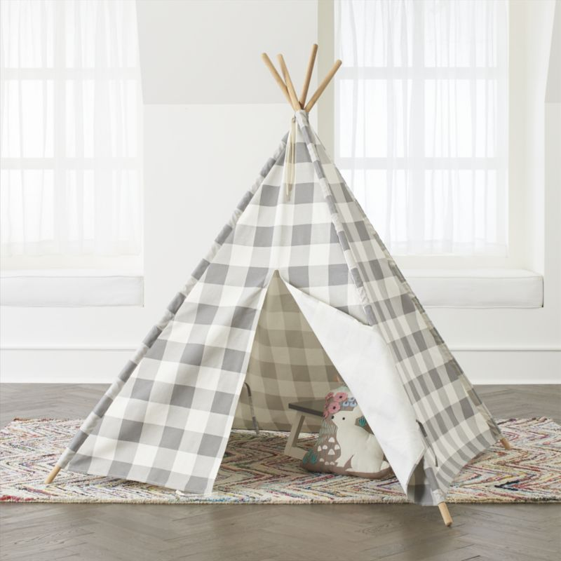 Crate & Barrel Grey Buffalo Check Teepee