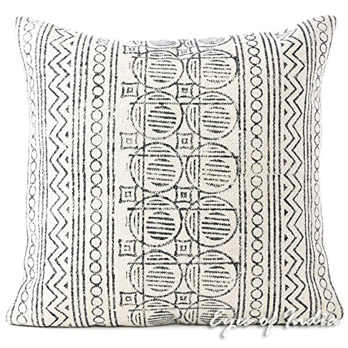 Eyes of India Bohemian Throw Pillow Cover in Black Block Print