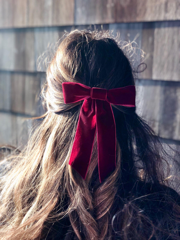Large Bordeaux Red Maroon Velvet Hair Bow Barrette