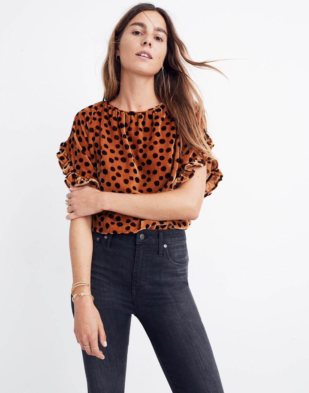 Madewell Velvet Memento Ruffle-Sleeve Top in Leopard Dot